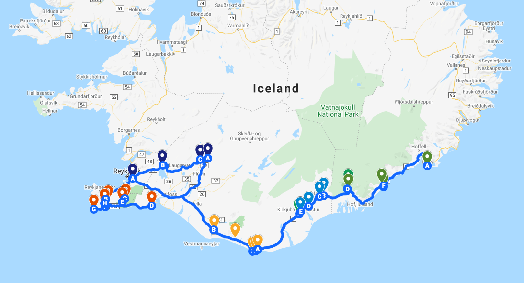 5 Day Itinerary map in Iceland